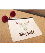 "NEW STAY WILD STEER SKULL 8""x7"" MAKEUP COSMETIC ACCESSORIES ZIPPERED ZIP... - $8.79"