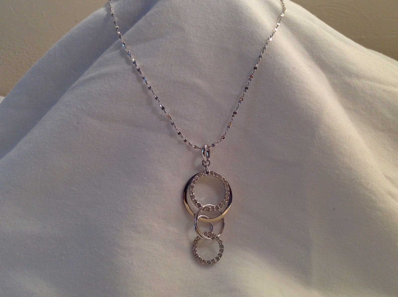 New Annaleece Necklace Connections Rhodium Silver Clear with Swarovski Elements