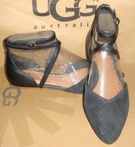 UGG Australia IZABEL Mar Black Leather Ankle Wrap Sandals Size US 7 NEW #1007163 - $73.47