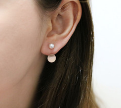 925 Sterling Silver Pearl and Metal Disc ear jacket ,Circle and Pearl ea... - $30.00