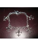 Silver Bracelet Fleur De Lis Design Pierced Bea... - $10.99