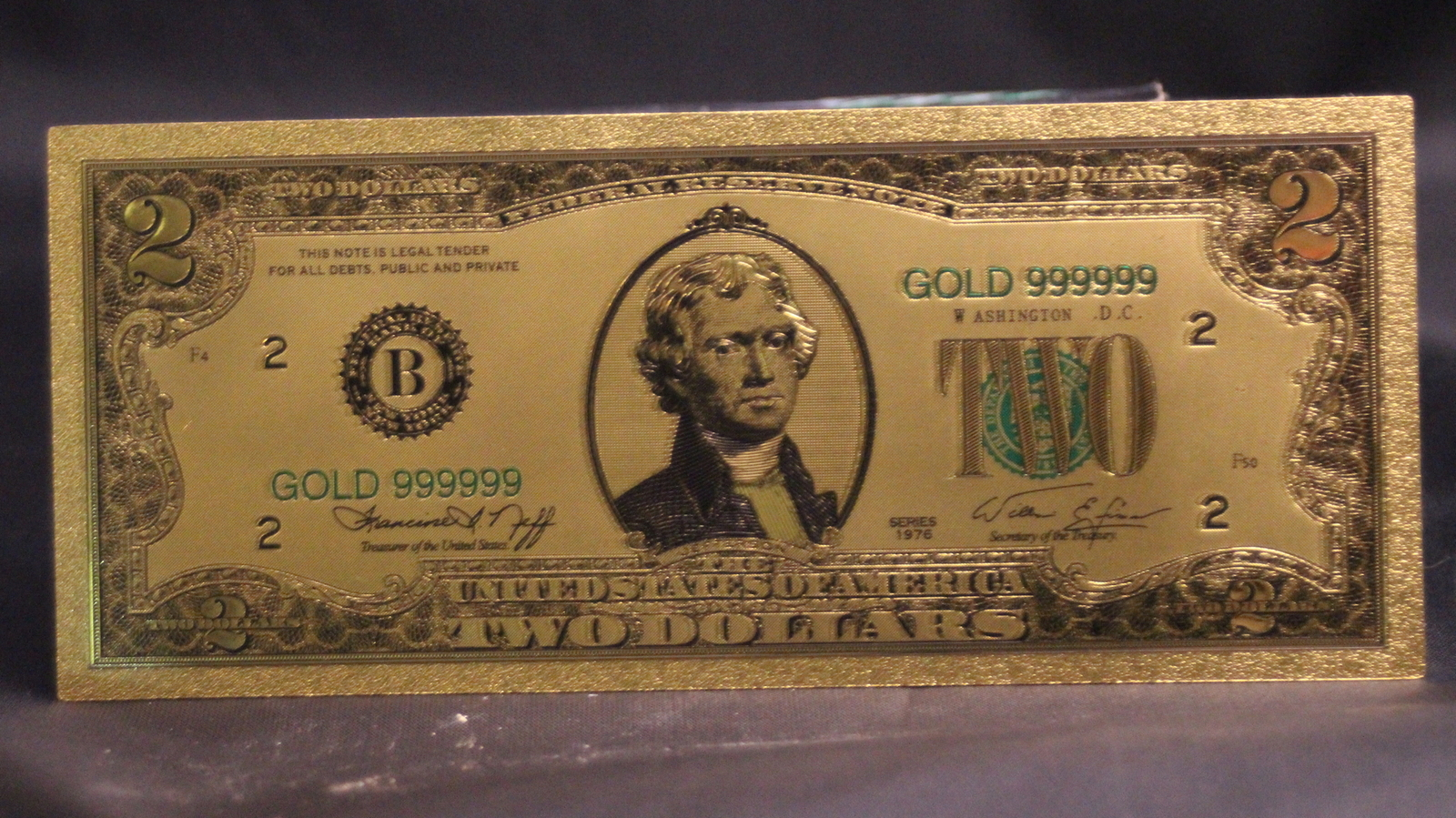 24k gold  2 dollar colorized banknote front view