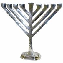 Judaica Hanukkah Menorah Hammered Silver Tone Aluminum Candles/Oil Israel 26 cm