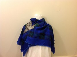 Royal Blue Black/Green Plaid Scarf w/ Repeated Flying Duck Image image 3