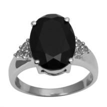 Gorgeous Black Onyx White Topaz Sterling Silver Women Ring Band Sz 7 SHR... - $22.25
