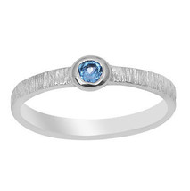 Small Tiny Blue Topaz Solid 925 Sterling Silver Women Ring Band Sz 6.5 S... - $8.65