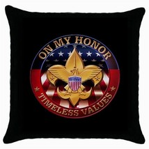 Boy Scouts of America On my Honor Logo Black Cushion Cover Throw Pillow Case-NEW - $15.00