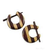 Organic Fake Gauge Tribal Wood Earrings Hoop Spiral Natural New Chic Mul... - $11.29