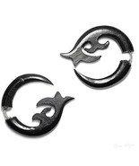 Organic Fake Gauge Horn Earrings Natural New Tribal Funky Spiral Unique ... - $12.19