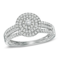 1 CTTW White CZ Diamond Layered Frame Halo Wedding Engagement Ring 925 Silver - $96.99
