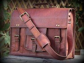Leather computer bag men shoulder briefcase women mens laptop satchel brown bags image 1