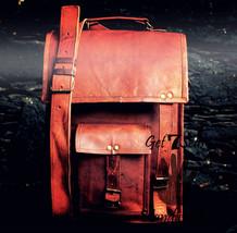 Messenger bag for men leather briefcase women shoulder satchel vintage laptop - $55.04