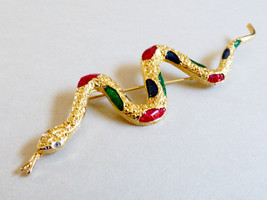 Gold tone metal Crystal Eyes Multi color enamel snake  Brooch pin - $24.75
