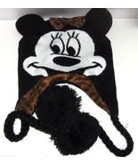 Disney Minnie Mouse Hat Hoodie Knit Fleece Winter Pom Poms Animal Print Bow - $29.95