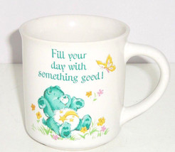 Care Bears Coffee Mug Cup Green Fill Your Day With Something Good Vintage - $44.95