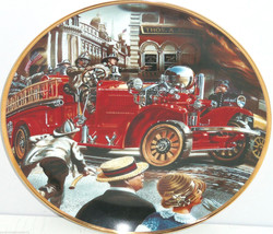 Fire Truck Museum Collector Plate 1922 Ahrens Fox Franklin Mint Retired Vintage - $59.95