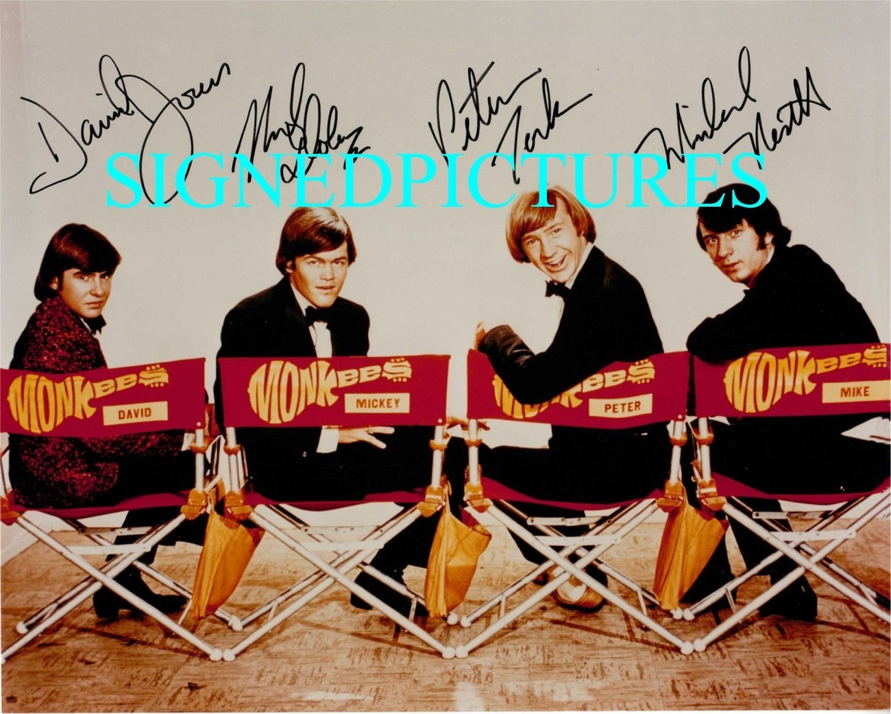 THE MONKEES BAND ALL 4 SIGNED AUTOGRAPHED 8X10 RP PHOTO HEY HEY CLASSIC COMEDY