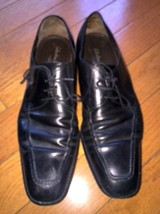 Mens Salvatore Ferragamo Black Leather Dress Shoes SZ 12D Made in Italy - $127.71