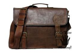 Leather briefcase for men women vintage shoulder laptop satchel mens brown bag - $69.30