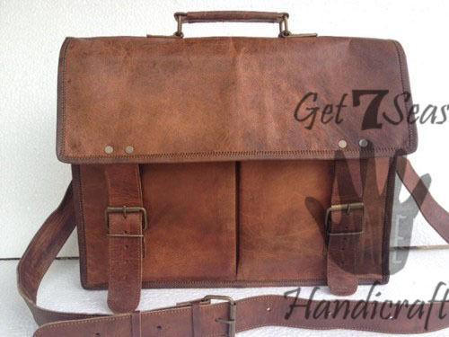 Leather satchel bag for men women vintage shoulder laptop mens briefcase bags