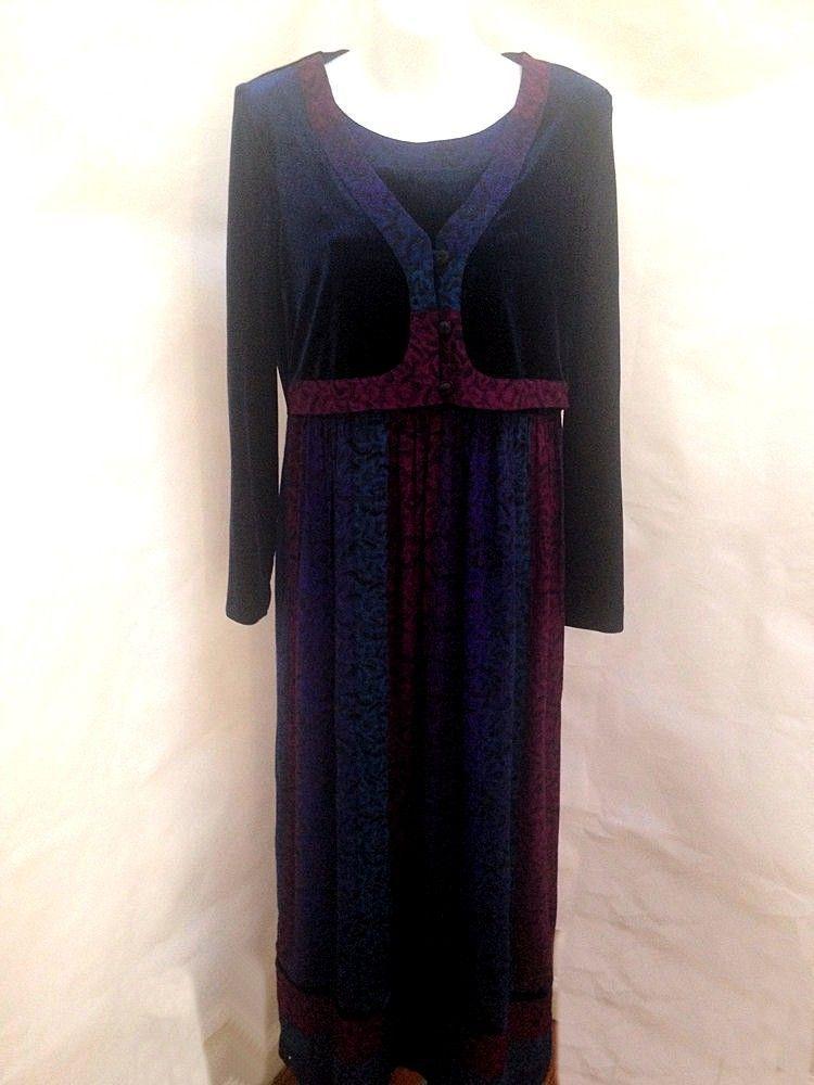 Karin Stevens Sz 6 Dress Attached Shrug Velvet Long Holiday - $26.43
