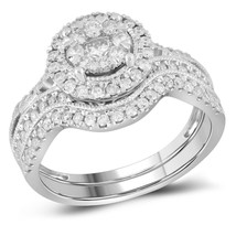 14kt White Gold Round Diamond Bridal Wedding Engagement Ring Band Set 7/8 Ctw - £1,225.51 GBP