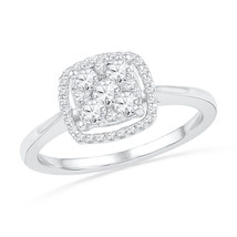 1/2 CTTW Simulated Diamond 925 Silver Cluster Frame Halo Wedding Engagement Ring - $96.99