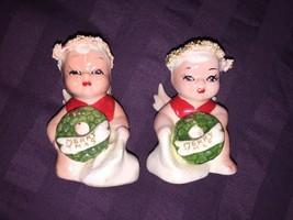 Two Vintage Cherub Christmas Angels Japan Merry XMAS Wreath Spaghetti - $13.99