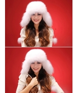 White Womens Genuine Fur Fox Hat Vintage Fox Fur Cap Crystal Fox Fur Ski... - $55.80