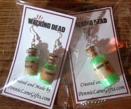 THE WALKING DEAD ZOMBIE ANTIDOTE HAND MADE NECKLACE AND EARRINGS SET - $9.99