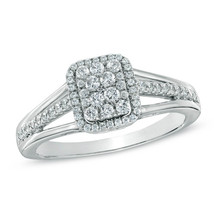 1/2 CTTW Composite CZ Diamond .925 Silver Square Split Shank Engagement Ring - $96.99