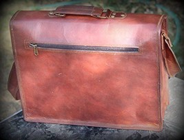 Leather computer bag men shoulder briefcase women mens laptop satchel brown bags image 2