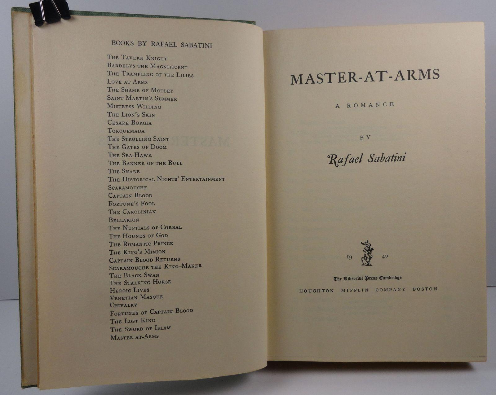 Master At Arms by Rafael Sabatini 1940 Houghton Mifflin