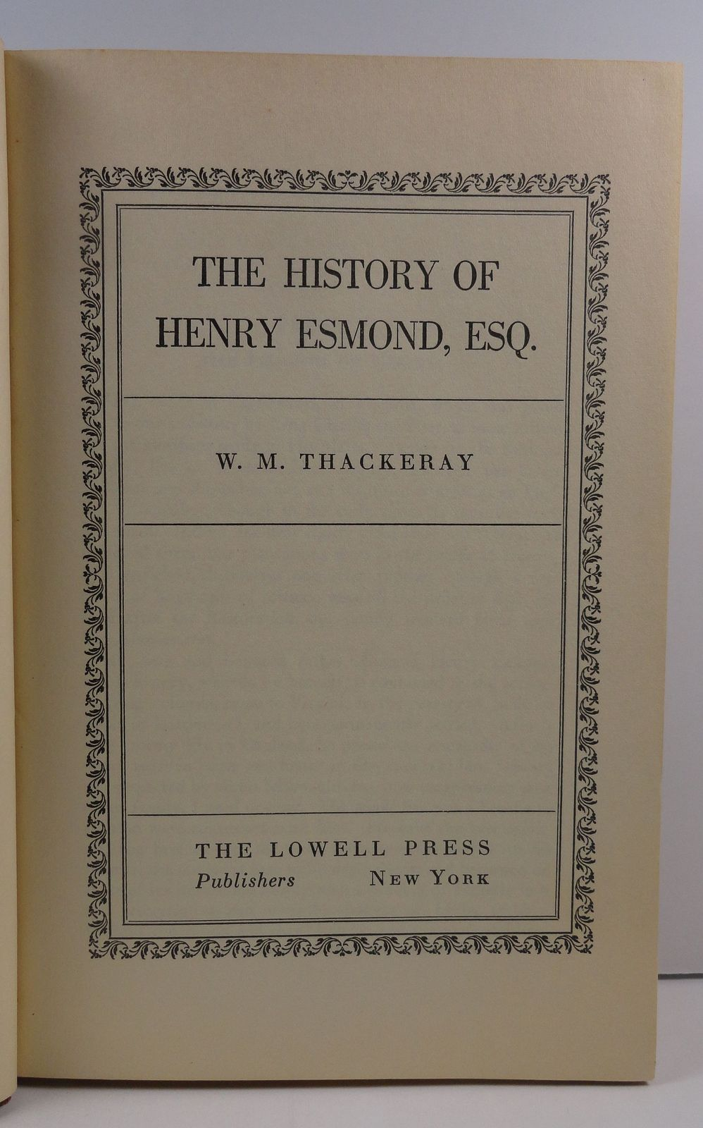 The History of Henry Esmond Esq. by W.M. Thackeray