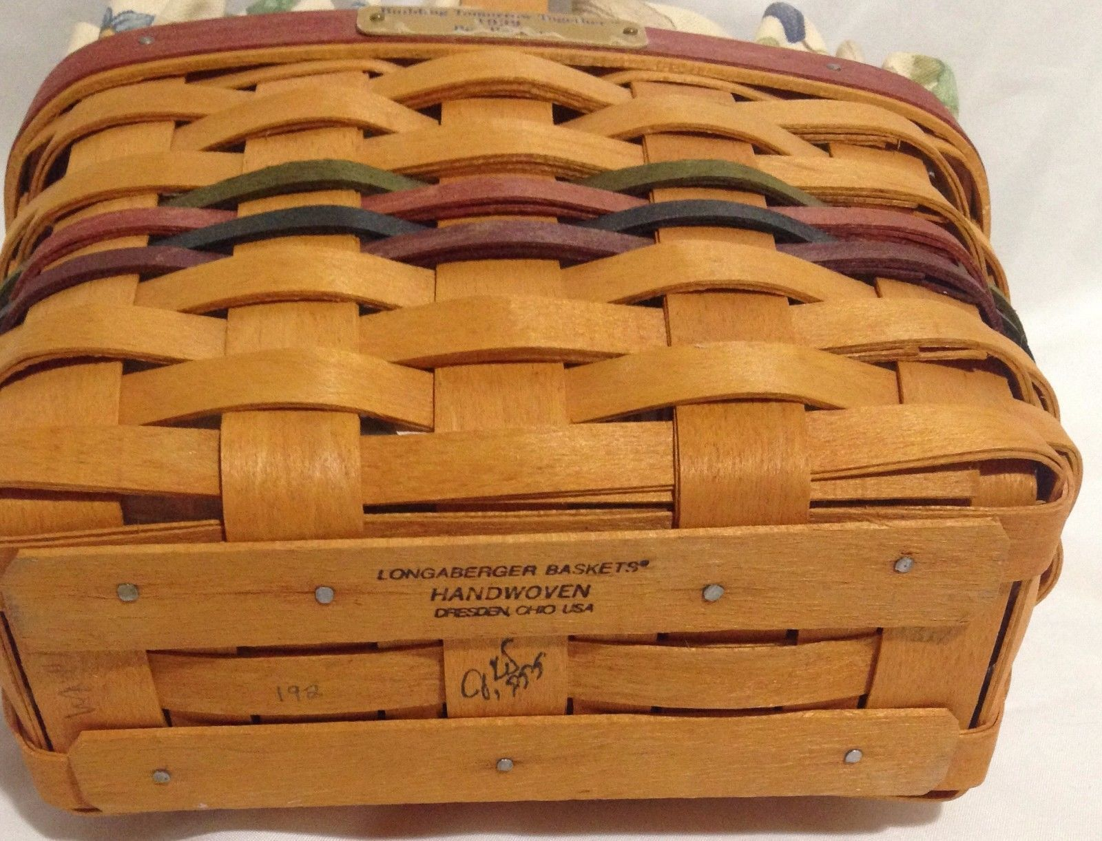 Longaberger 1999 Bee Basket Combo w/ Protector & Botanical Fields Liner New