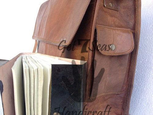 Leather satchel bag for men women vintage shoulder laptop mens briefcase bags image 2