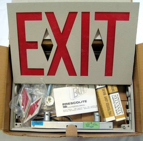 Retro Vintage Prescolite Thinline Electric Red Letter Exit Signs New In Bo
