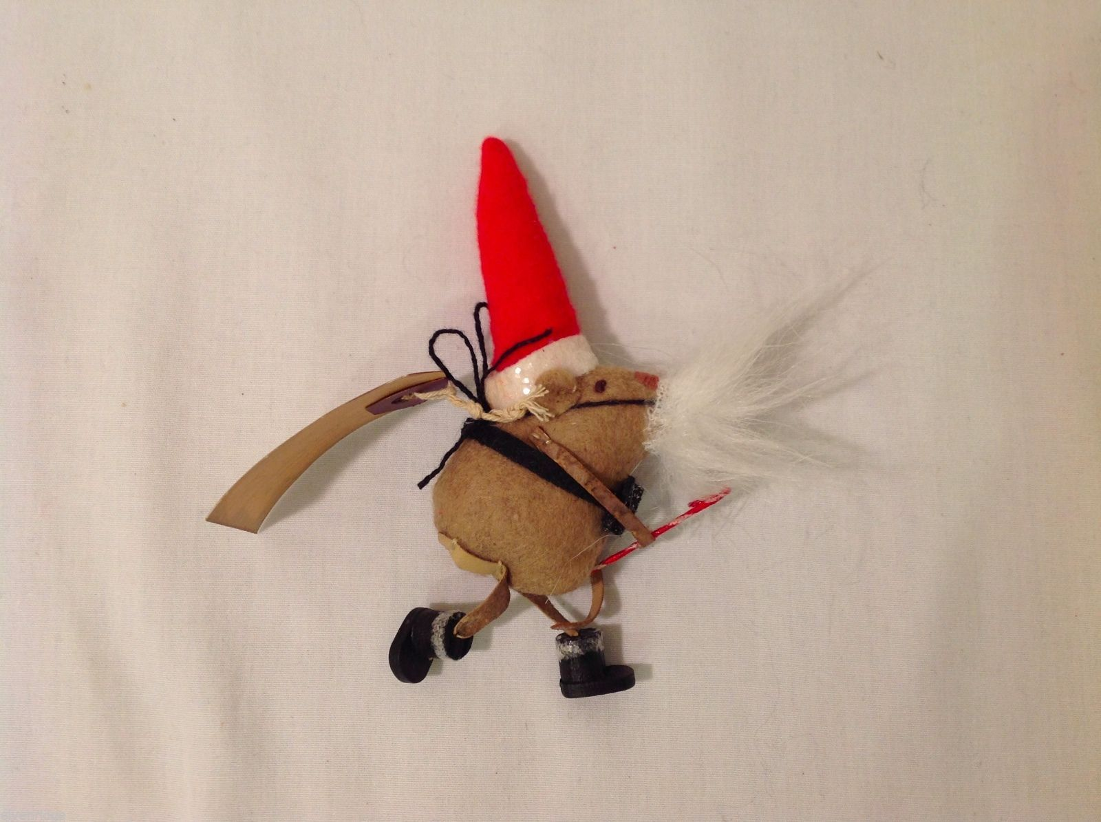 Vintage look Handmade Felt Mouse Ornament in Santa's Beard and Hat w/Candy cane