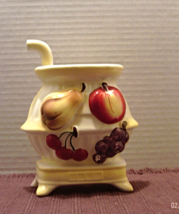 Vintage LEFTON JAPAN Pot Belly Stove With FRUIT ACCENTS Wall Pocket Vase - $13.25