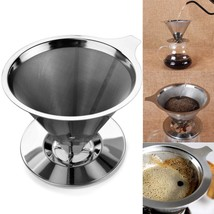 Coffee Cone Pour Over Dripper Cup Steel Stainless Stand Yitelle And Filt... - €21,40 EUR