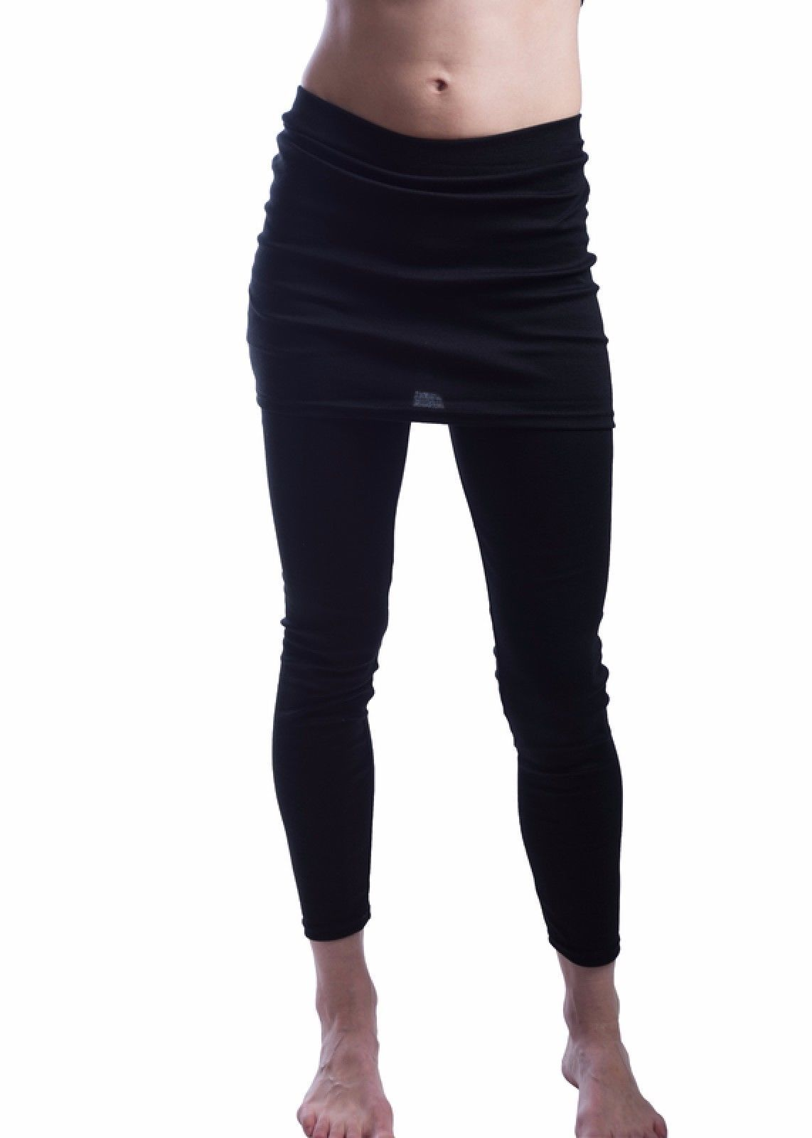 "Wear Freedom Black Ankle Length Leggings w/Skirt 1 Size Fits All up to 32"" Waist"