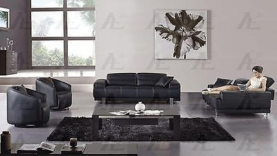 AE606-BK Living Room Set Sofa Loveseat and 2 Chairs Modern Contemporary 4pc LooK