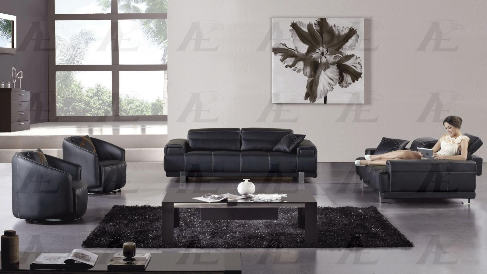 AE606BK Living Room Set Sofa Loveseat Black Leather Modern Contemporary 2pc LooK