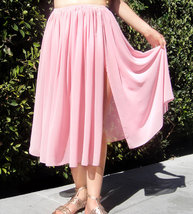 Light-pink chiffon skirt, below knee, size M, new - $20.00
