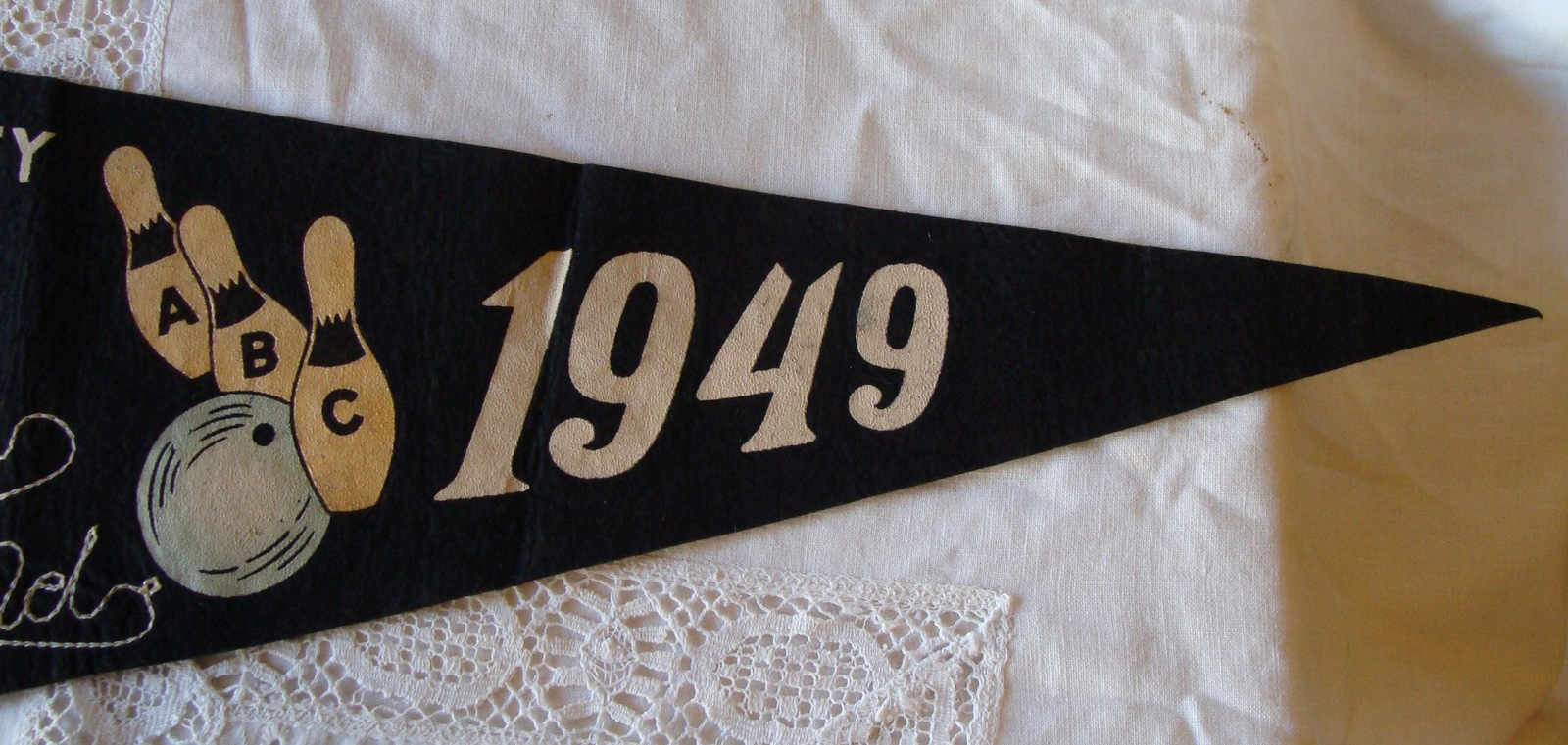Vtg Souvenir Felt Pennant 1949 ABC Bowling Tournament Atlantic City NJ Sports