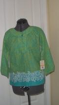Caribb EAN Joe Blouse Shirt Size M Green Floral Print MSRP:$44.00 Nwt - $15.95