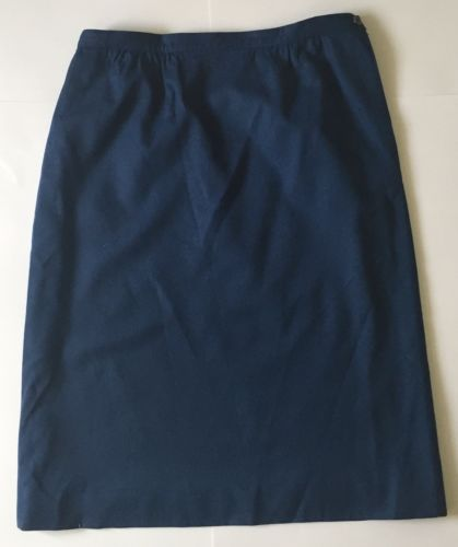 Vintage Pendleton Dark Blue Skirt 16 Virgin Wool Lining Modest 8 10 12