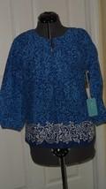 Caribb EAN Joe Blouse Shirt Size M Blue Floral Print MSRP:$44.00 Nwt - $15.95