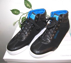 Leather High Fashion US Calvin Men Sneakers Black Top Blue Size Klein Casual 12 qqXgA4w