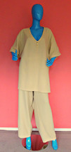Avenue 2 Piece Casual Pants Tunic Set Outfit 30/32 4X 5X Plus Size Yello... - $15.74